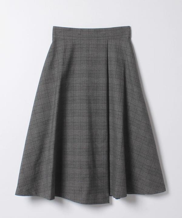 ★チェックストレッチラップフレアスカート