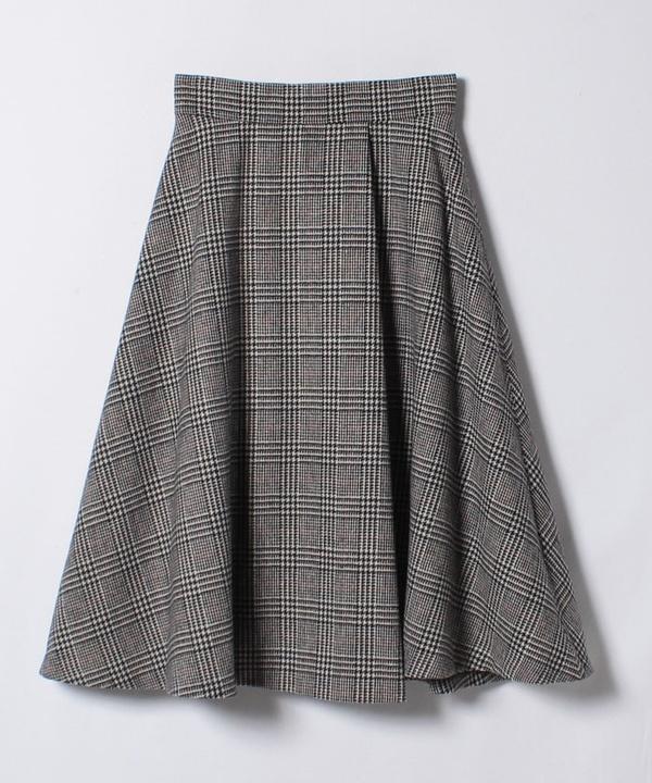 ミックスグレンチェックタックフレアスカート