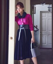 カラーベルベットスカート