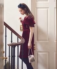 フレアスリーブベルベットドレス
