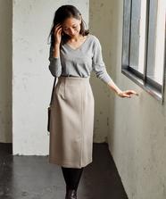 【セットアップ対応商品】バックベルトミディタイトスカート