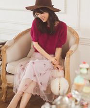チュール小花刺繍スカート
