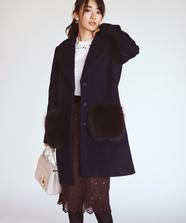【美人百花 12月号掲載】ポケットファー付ビックカラーコート