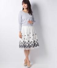 パネルフラワー刺繍スカートset