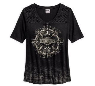 クロッシェレースショルダーTシャツ・ブラック