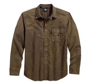 ウォッシュドキャンバスシャツ・ブラウン