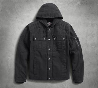 ワークウェアジャケット・グラインドフード付・ブラック