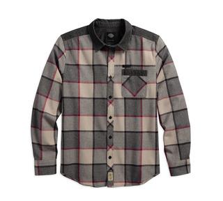 ムーンロックコントラスト・ヨークプレイドシャツ