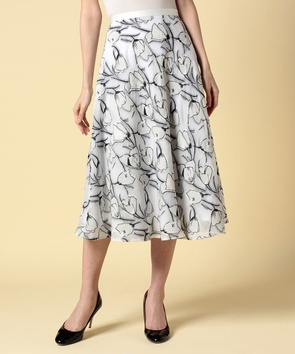 【セットアップ対応商品】フラワーカットジャガードスカート
