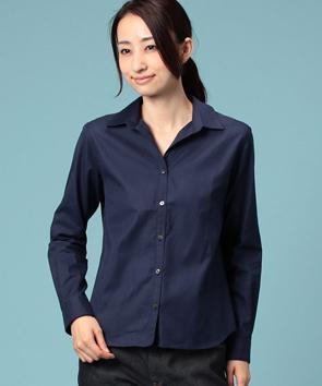 コットンオックスフォードオープンカラーシャツ