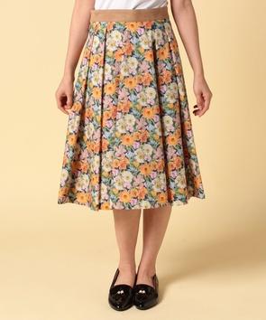 【セットアップ対応商品】リバティフラワープリントフレアースカート