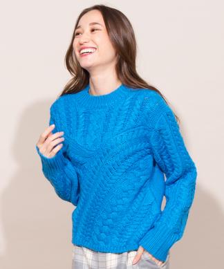 【Webカラー限定】【Catherine Harnel】ケーブル編みセーター