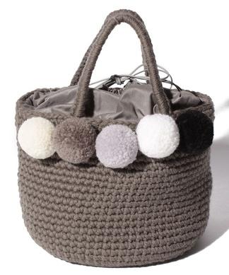 【BERTINI】ポンポンニットハンドバッグ