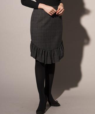 チェック柄フリルタイトスカート