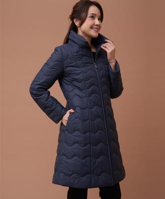 裾フレアキルティングコート