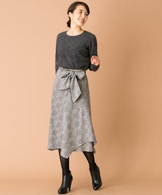 【特別提供品】チェック柄アシンメトリースカート