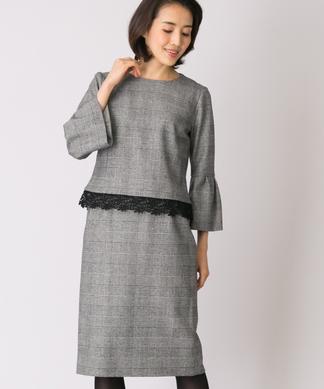 【特別提供品】グレンチェックブラウス×タイトスカートセット