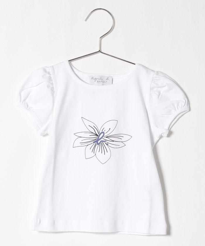 SCQ1 E TS キッズ フラワープリントTシャツ