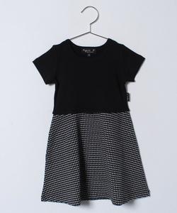 JDF0 E DRESS ジオメトリックドッキングワンピース