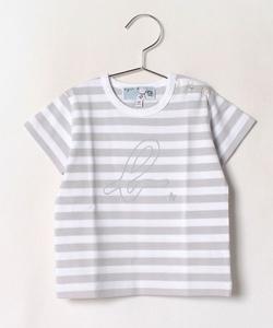SDH0 L TS ベビー ボーダーb.ロゴTシャツ