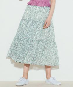 WN30 JUPE リーフ柄ティアードスカート