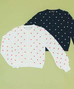 WO77 CARDIGAN ハート刺繍カーディガン