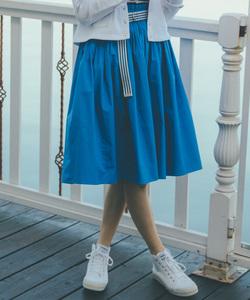 WJ04 JUPE ベルトタックギャザースカート