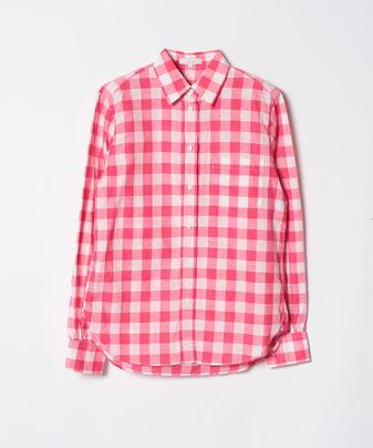 綿麻ギンガムチェックシャツ