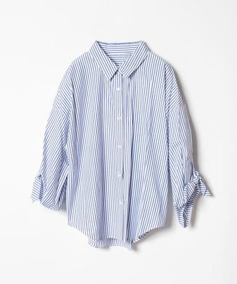 ストライプ袖リボンシャツ