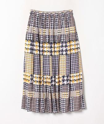 チェックプリントギャザースカート