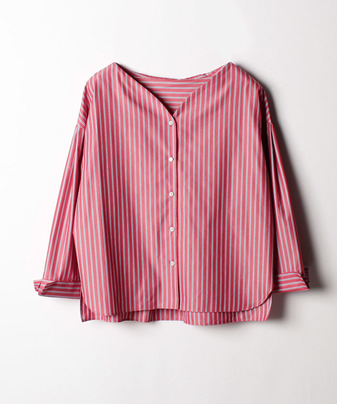 カラーストライプVネックシャツ
