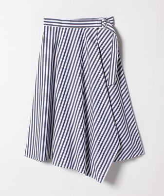 ブルーストライプアシメラップスカート