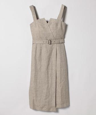 リネンヘリンボーンジャンパースカート