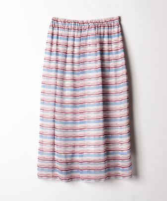 【セットアップ対応商品】ボーダーシフォンギャザースカート