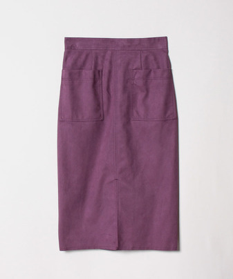 ステッチワークカラーフェイクスエードタイトスカート