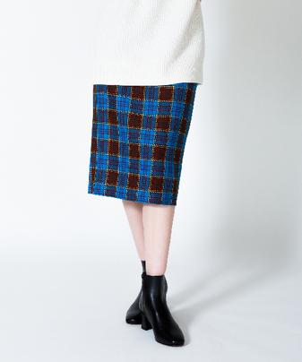 ブロックタータンタイトロングスカート