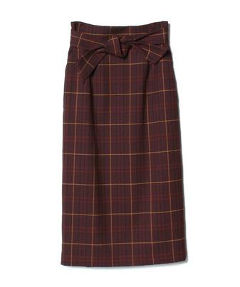 グレンチェックハイウエストリボンスカート