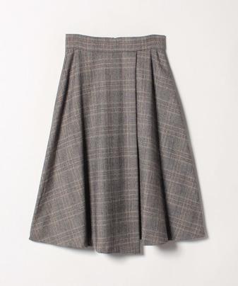 グレンチェックラップフレアースカート