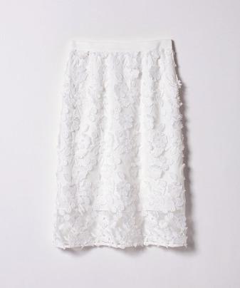チュールフラワー刺繍ナロースカート