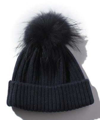 ラクーンツキニット帽