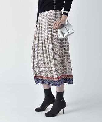 【セットアップ対応商品】ボーダージオメトリックプリーツスカート