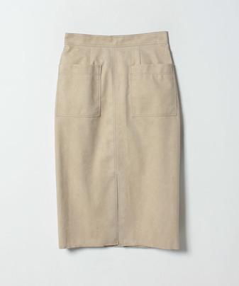 ステッチワークカラースエードタイトスカート