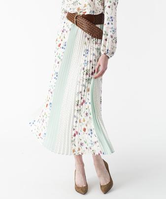 【Loulou Willoughby】マルチフラワーパッチワークプリーツスカート