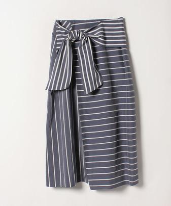 ボーダー切替リボンスカート