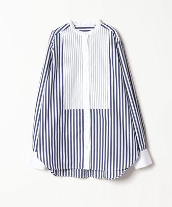 ストライプコンビネーションバンドカラーシャツ