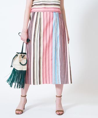 マルチボーダーギャザースカート