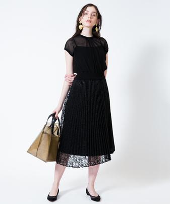 【セットアップ対応商品】【Loulou Willoughby】ラッセルレースXサテンプリーツスカート