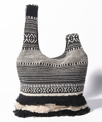 【MAISON N.H PARIS(メゾンエヌエイチパリ)】MONTEREY コットン刺繍ハンドバッグ