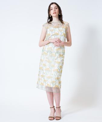 【セットアップ対応商品】【Loulou Willoughby】ラインフラワー刺繍タイトスカート