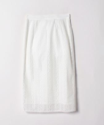 【セットアップ対応商品】【Loulou Willoughby】ストライプレースサイドラインスカート